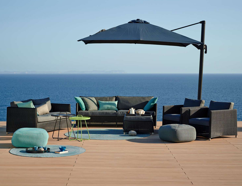 Cane-line - Diamond Lounge Seating, On the Move Tables, Divine Footstools, Hyde Parasol