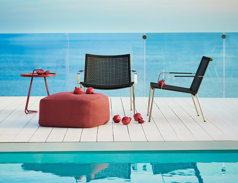 Cane-line - Straw Rope Lounge Chairs, Divine Footstool & On-the-Move-Table