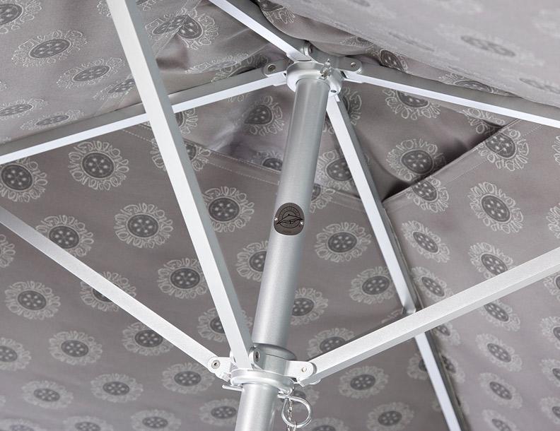 Santa Barbara Umbrella – Paseo Aluminum Hub Detail