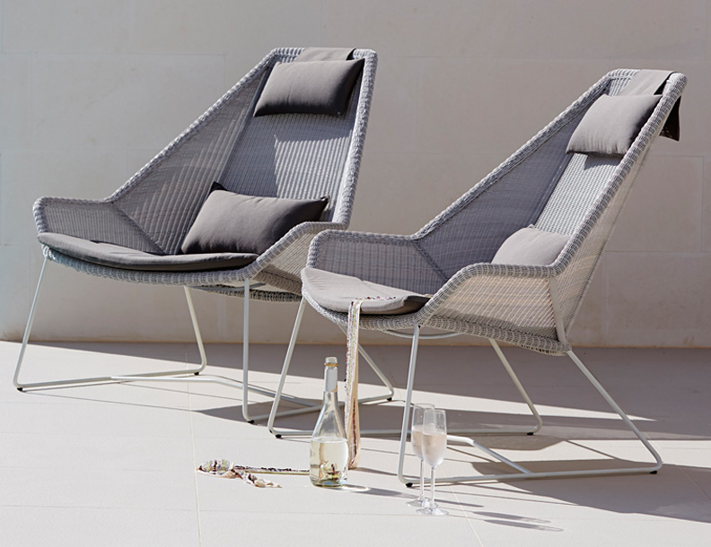 Bradley Terrace Cane Line Breeze Highback Lounge Chairs